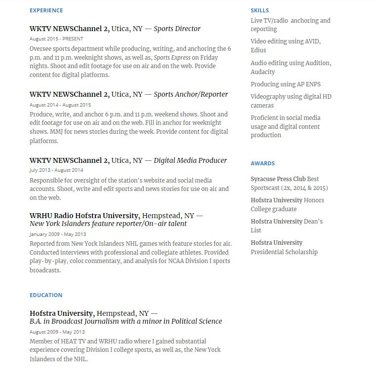 Resume image for web